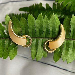 Vintage 1940's Clip Earrings Yellow crescent shape